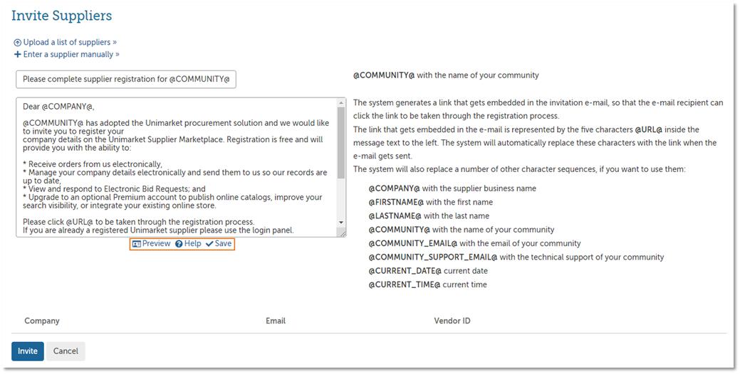 Inviting Suppliers to Register - Upload – Unimarket Helpdesk